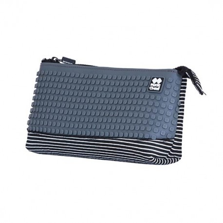 PIXIE PENCIL CASE WHITE STRIPES / GRAY