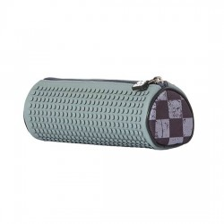 PIXIE ROUNDED PENCIL CASE CHECKERED GREY / DARK