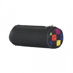 PIXIE ROUNDED PENCIL CASE CHECKERED MULTI / BLACK