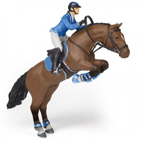 Jumping horse with riding girl