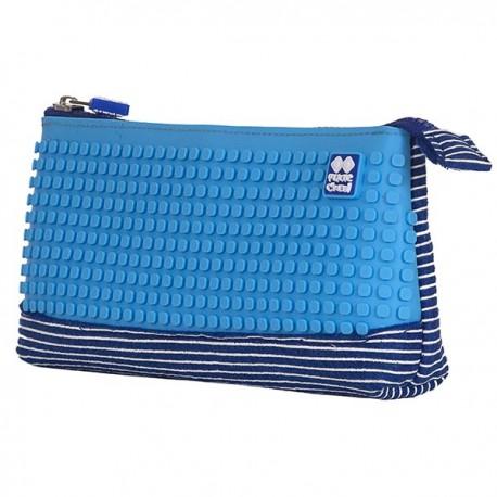 Pixie Pencil Case WHITE STRIPES / BLUE