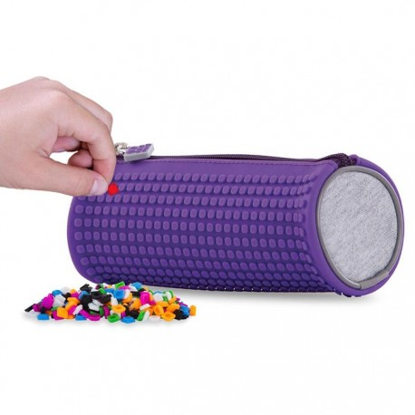PIXIE ROUNDED PENCIL CASE PURPLE/GREY