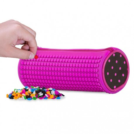 Pixie Rounded Pencil Case PINK DOTS / FUCHSIA