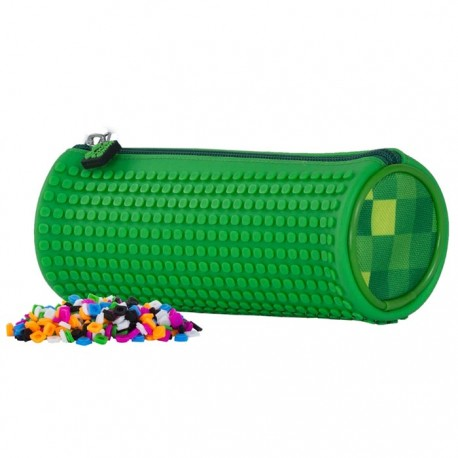 Pixie Rounded Pencil Case CHECKERED GREEN / GREEN