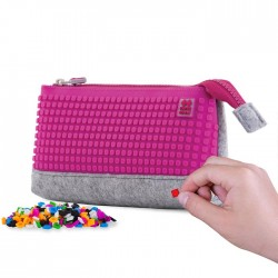 PIXIE PENCIL CASES GREY / NEON PINK