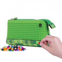 PIXIE PENCIL CASES CHECKERED GREEN / BLACK