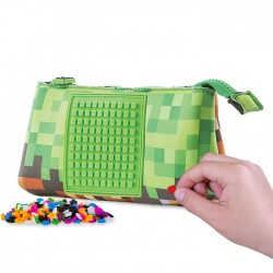 PENCIL CASE VIDEO GAME PATTERN WITH GREEN SQUARE