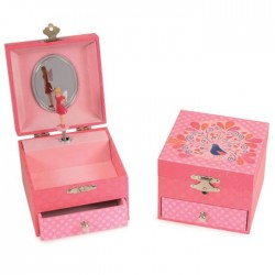MUSICAL JEWELRY BOX WITH DRAWER PEACOCK