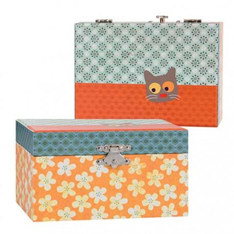 MUSICAL JEWELRY BOX FLOWER CAT