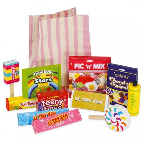 Bonbons, friandises et pochette en tissu
