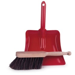 DUSTPAN & BRUSH RED 22 X 15 CM