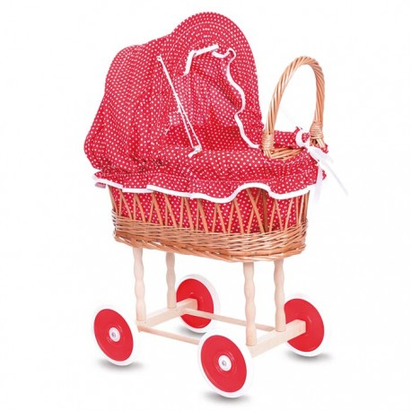 PRAM WICKER WITH RED & WHITE DOTS