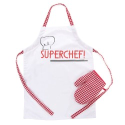 TABLIER ET MANIQUE SUPERCHEF 59 X 20 CM