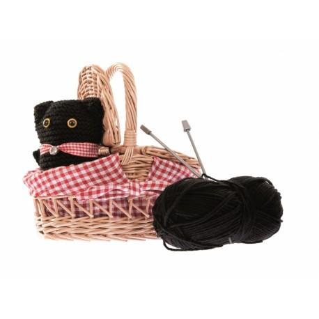 KNITTING KIT CAT IN A WICKER BASKET