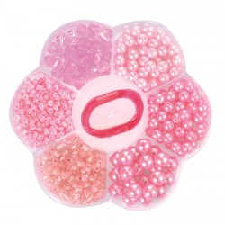 LIGHT PINK PEARLS IN A FLOWER SHAPED BOX