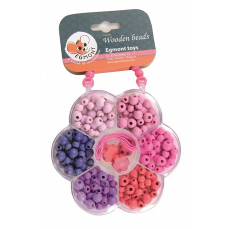 WOODEN BEADS IN A FLOWER SHAPED BOX