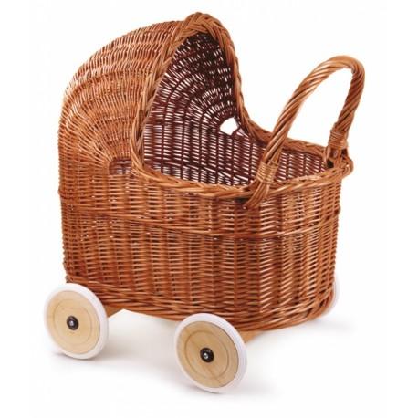 landau en osier avec roues de caoutchouc