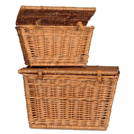SET OF 2 WICKER TRUNKS