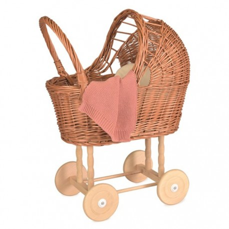 WICKER PRAM WITH KNITTED BLANKET