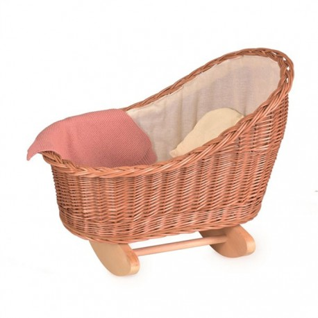 WICKER CRADDLE WITH KNITTED BLANKET