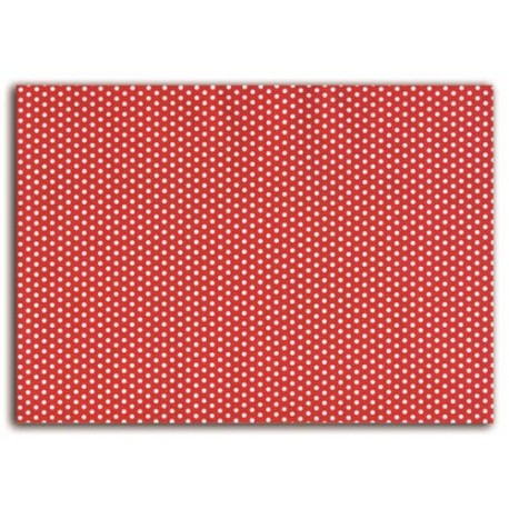 ADHESIVE FABRIC 21X29.7CM - RED WHITE DOTS