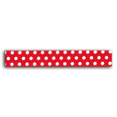 ADHESIVE FABRIC RIBBON 5M - WHITE DOTS RED