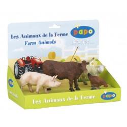 Display  box Farm animals (4 fig.) (boar, Salers cow,