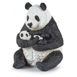 Sitting panda and baby