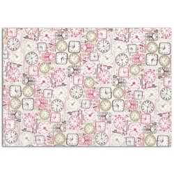 ADHESIVE FABRIC 21X29.7CM - PINK CLOCKS