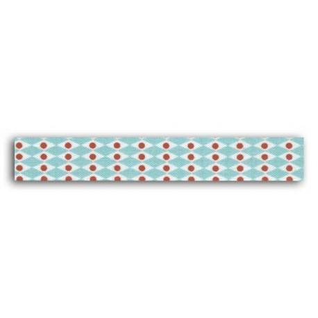 ADHESIVE FABRIC RIBBON 5M - PINK PEARLS BLUE