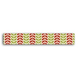 ADHESIVE FABRIC RIBBON 5M - RED & GREEN LEAVES