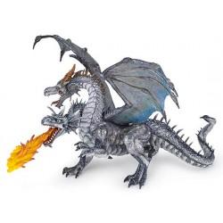 Dragon deux têtes argenté retraité