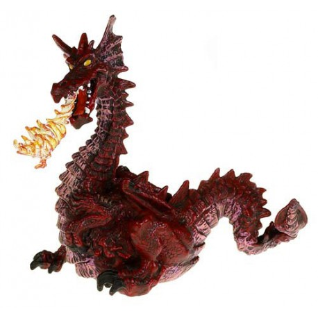 Red dragon with flame