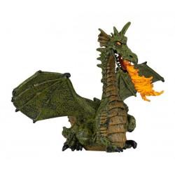 Dragon ailé bleu ou vert avec flamme