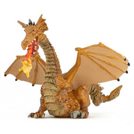 Dragon or avec flamme