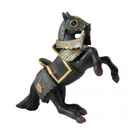 Knight in black armour horse