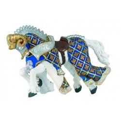 Cheval du Maître des armes cimier bélier bleu