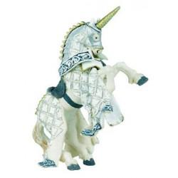 Cheval de Maître des armes cimier licorne argentée