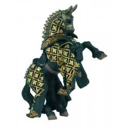 Cheval du Maître des armes cimier taureau noir