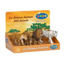 Display box big cats 1 (4 Figs) (Lioness, lion cub, li