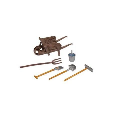 The Wheelbarrow and it's Tools (wheelbarrow, shovel, b