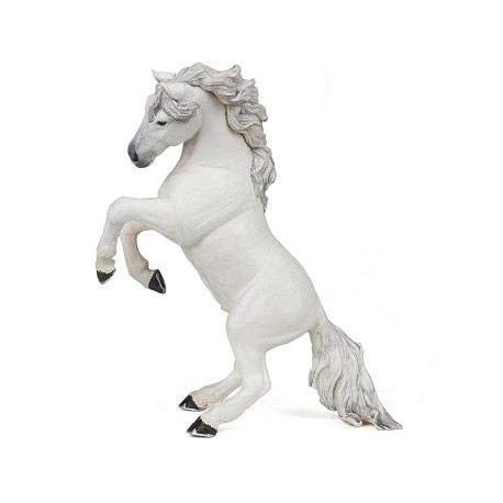 White reared up horse