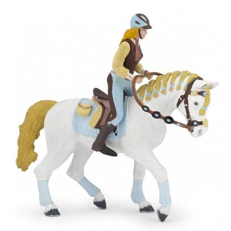 Trendy riding women's horse blue