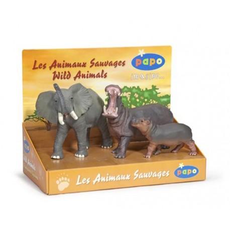 Boîte présentoir animaux sauvages 2 (3 fig.) (Éléphant
