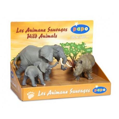 Boîte présentoir animaux sauvages 3 (3 fig.) (Éléphant