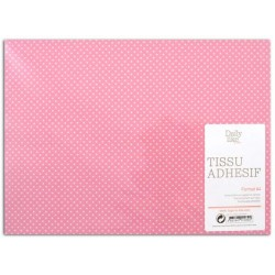 ADHESIVE FABRIC 21X29.7CM - PINK WHITE DOTS