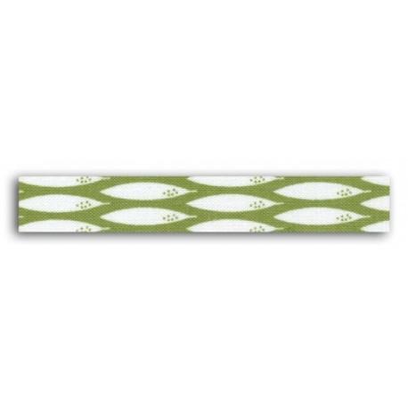 ADHESIVE FABRIC RIBBON 5M - BAMBOO GREEN & WHITE