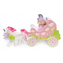 carriage with unicorn & butterfly fairy