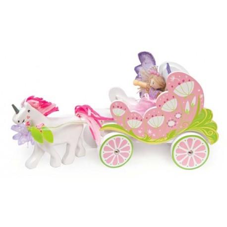 Carosse de Fée Belle avec licorne et fée papillon***