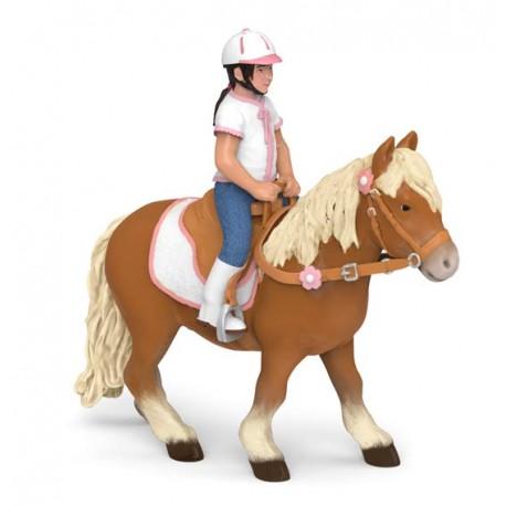 Shetland pony with saddle